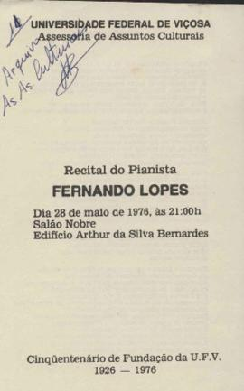 Programação do Recital do Pianista Fernando Lopes